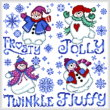 cross stitch pattern Fluffy Snowmen