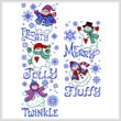 cross stitch pattern Fluffy Snowmen - tall