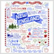 cross stitch pattern Let's Visit New England