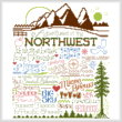 cross stitch pattern Let's Visit the Northwest