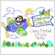 cross stitch pattern Little Pilot Birth Record