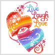 cross stitch pattern Live Laugh Love Hearts