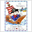 cross stitch pattern Mason the Pirate Birth Record
