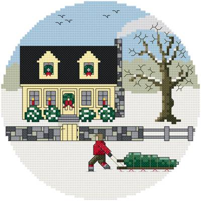 cross stitch pattern Bringing Home the Tree