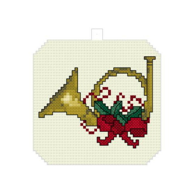 cross stitch pattern Christmas Horn Ornament