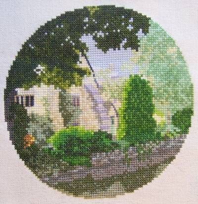 cross stitch pattern Lower Slaughter  Study in Green