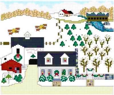 cross stitch pattern Christmas at Spruce Hill Farm