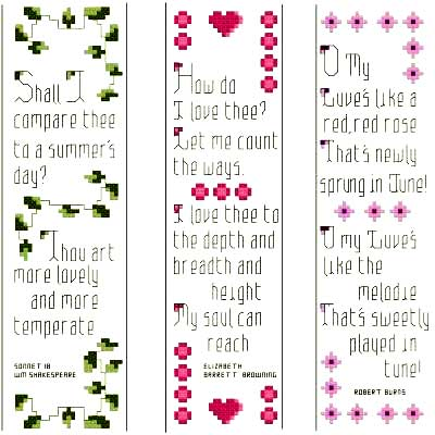 cross stitch pattern Romantic Bookmarks - Set of 3