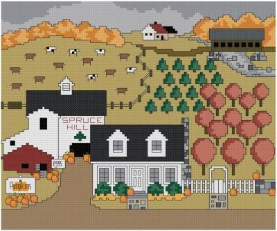 cross stitch pattern Spruce Hill Autumn