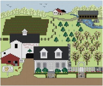 cross stitch pattern Springtime at Spruce Hill Farm