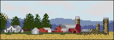 cross stitch pattern Farm Panorama