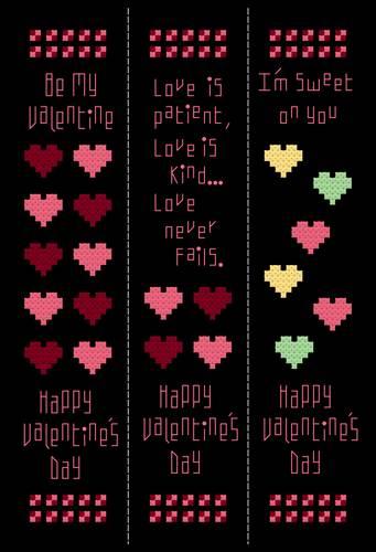 cross stitch pattern Valentines Bookmarks-Set of 3
