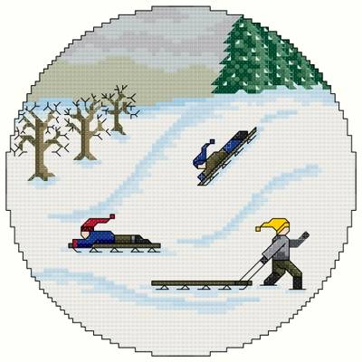 cross stitch pattern Sledding Party