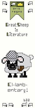 cross stitch pattern El-lamb-entary Bookmark