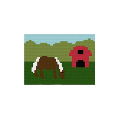 cross stitch pattern Pony and Barn