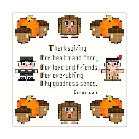 cross stitch pattern Thanksgiving Sampler