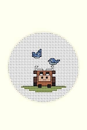 cross stitch pattern Bull and Bluebirds