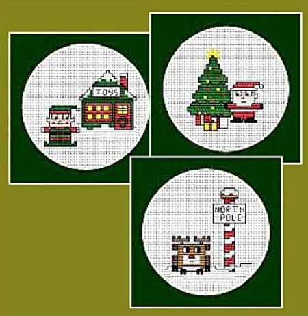 cross stitch pattern Quad Christmas Cards 1