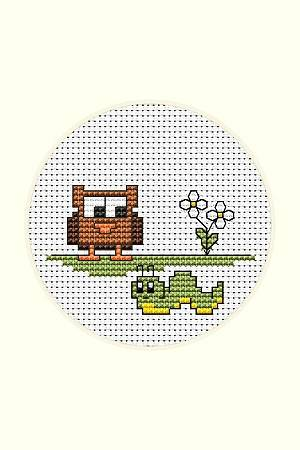 cross stitch pattern Owl and Caterpillar