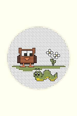 cross stitch pattern Owl and Caterpillar