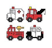 cross stitch pattern Quad Emergency Vehicles