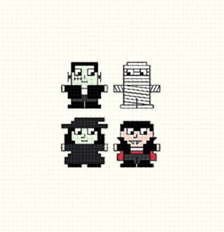 cross stitch pattern Quad Halloween Figures