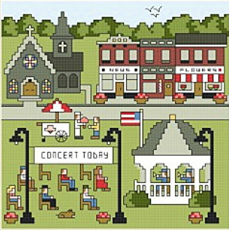 cross stitch pattern Village Square Concert