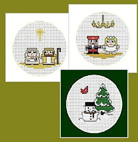 cross stitch pattern Quad Christmas Cards-Set 2