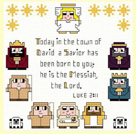 cross stitch pattern Nativity Sampler