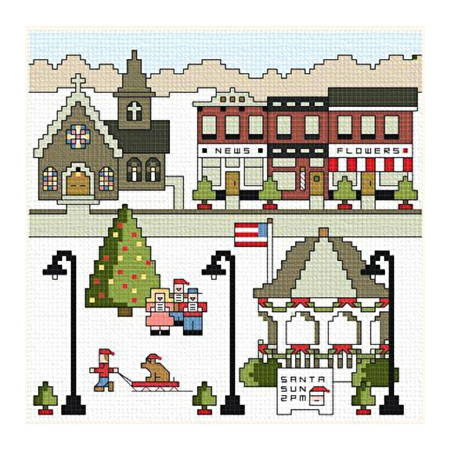 cross stitch pattern Village Square Christmas