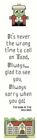 cross stitch pattern Mr Toad Bookmark
