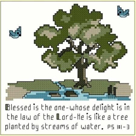 cross stitch pattern Psalm 1