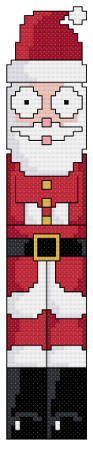 cross stitch pattern Googlie Santa Bookmark