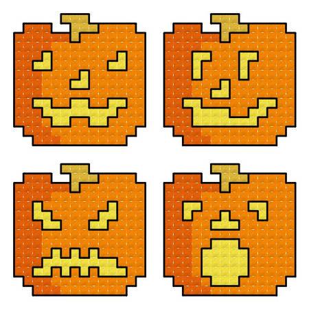 cross stitch pattern Quad Jack O Lanterns