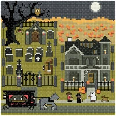 cross stitch pattern Halloween Night