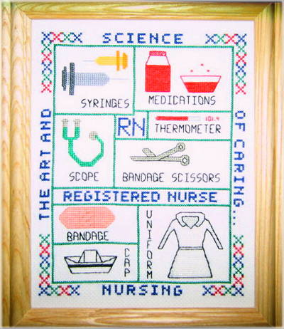 cross stitch pattern Nurse Sampler