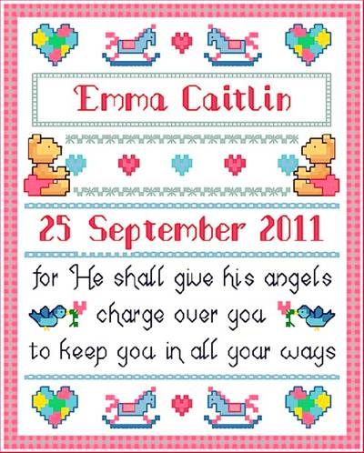 cross stitch pattern Baby Blessings