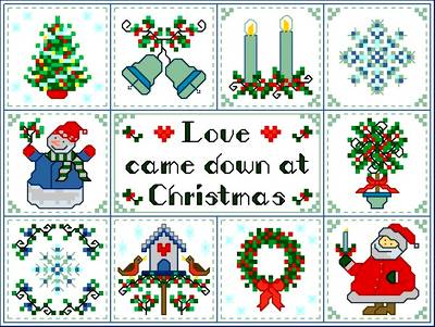 cross stitch pattern Christmas Love