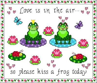 cross stitch pattern Kiss a Frog