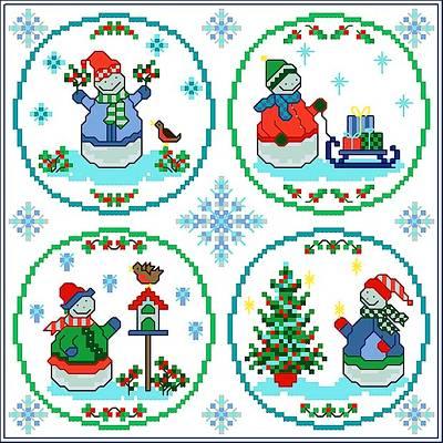 cross stitch pattern Snowy Christmas