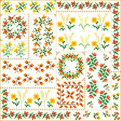 cross stitch pattern Autumn Quilt Square