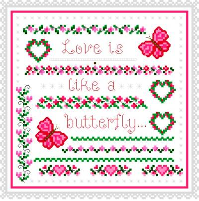 cross stitch pattern Butterfly Love