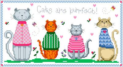 cross stitch pattern Cats are Purrfect