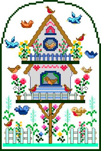 cross stitch pattern Spring Birdsong