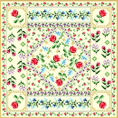 cross stitch pattern Antique Quilt Square