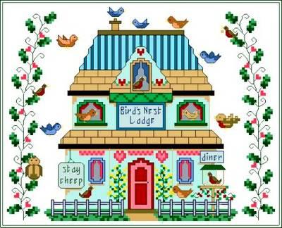 cross stitch pattern Bird's Nest Lodge