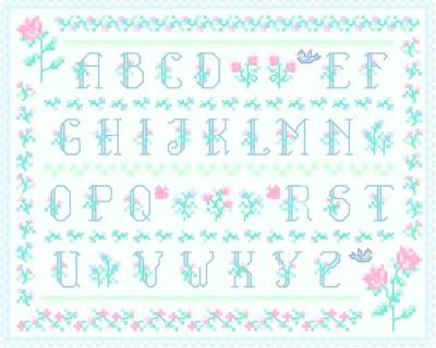 cross stitch pattern Floral Alphabet