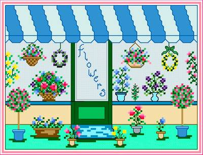 cross stitch pattern Flower Shop