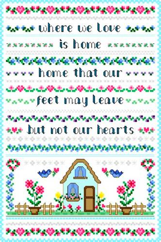 cross stitch pattern Hearts Home