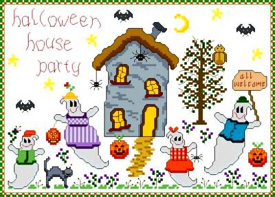 cross stitch pattern Halloween Party